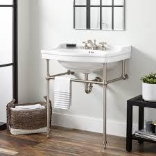 bathroom sink. Cierra Large Porcelain Console Sink With Brass Stand Bathroom