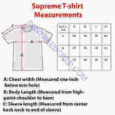 Tee Size Chart Supreme T Shirt Sizing Streetcred