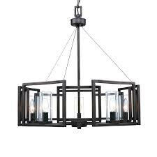 post modern black iron and 5 clear shades chandelier 10434