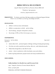 Psw Personal Support Worker Resume Samples Ipasphoto