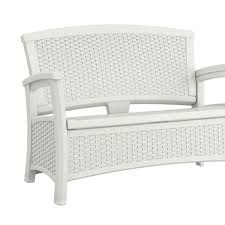 suncast elements resin wicker design loveseat with storage white groupon