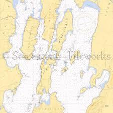 Vermont North Hero Lake Champlain Nautical Chart Decor