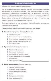 Job Satisfaction Survey Template Fascinating Satisfaction Survey Examples Kubreeuforicco
