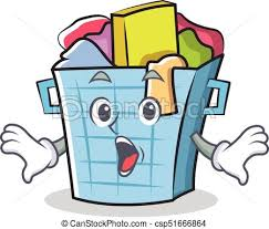 laundry basket clipart. Surprised Laundry Basket Character Cartoon - Csp51666864 Clipart