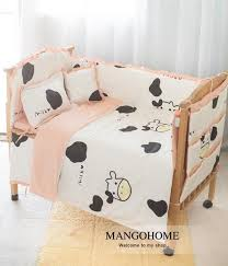 infant bedding set newborn crib bedding set cute pink milk design with bed sheet quilt cover