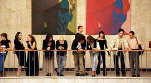 russia ors at a musuem attending the opening of an andy warhol art exhibition in moscow
