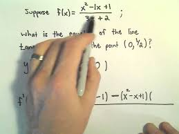 calculus equation of the tangent line at point using the quotient rule