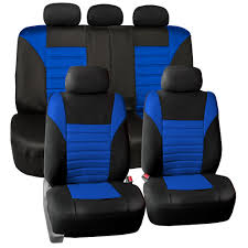 seat cover for car suv van blue 60 40 split bench with black floor mats