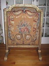 Vintage Needlepoint Fireplace Screen Wood Framed Main Street Small ...