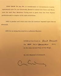alan turing professor olsen large royal pardon of alan turing signed by queen elizabeth ii