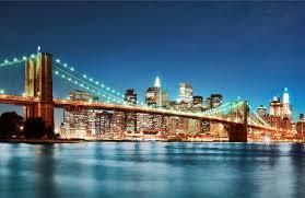 Brooklyn Bridge Lights Brooklyn Bridge Lights Mural New York Wallpaper Bridge