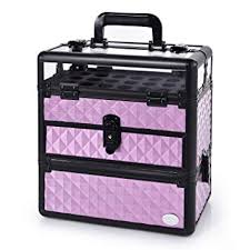 amazon large nail train case professional cosmetic makeup box portable accessory kit with nail polish slots purple by joligrace beauty