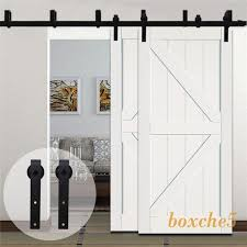 4ft 20ft country byp double wood sliding barn door hardware closet track kit