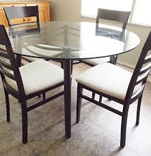 Italian Glass Dining Table Modern Italian Glass Top Metal Dining Table With Four Chairs Ebth