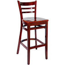 ladder back bar stool mahogany finish with a wood seat