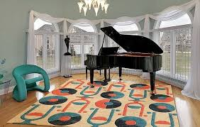 mid century modern rugs. Mid Century Modern Custom Rug Based On Vintage 45 Vinyl Records Rugs