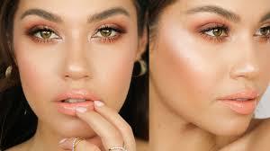 grwm peach spring makeup tutorial jlo glow makeup abh modern renaissance palette eman