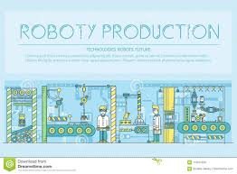 Assembly Line Design People Working On Robots Assembly Line Vector Outline