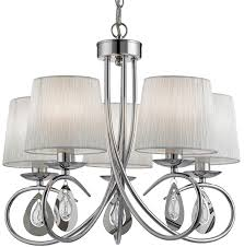 angelique decorative 5 light chrome chandelier with shades