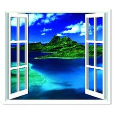 window wall stickers wall decals window scene tropical ocean wall sticker window wall decal faux scenic