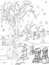 Coloring In Pages Ghostly Graveyard Coloring Page Coloring Pages For