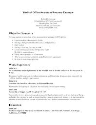 Medical Office Resume Samples Resume Template Medical Assistant