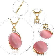 other rose gold plated elegant gemstone pendant necklace earrings set jewelry for women
