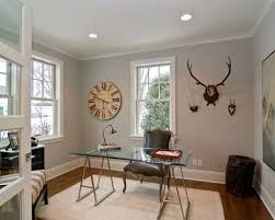 office color design. transitional home office photo in minneapolis with gray walls color design