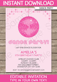 Dance Invitation Ideas Dance Party Invitations Template Birthday Party