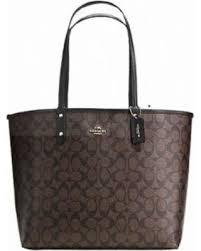 Coach Signature City Tote Coated Canvas Reversible Handbag and Pouch Set  (coach36658brownbla), Women s