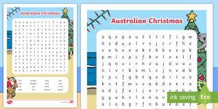 Summer Word List Australian Christmas Word Search Vocabulary Word List