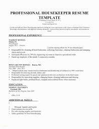 Hospital Housekeeping Resume Examples Simple Fresh Housekeeping