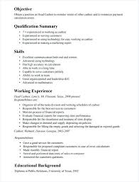 Cashier Responsibilities Resume Sample Professional Letter Formats