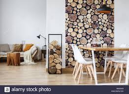 Offenes Esszimmer Innenraum Mit Brennholz