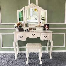 makeup vanity tables blongang vanity set tri folding mirror vanity dressing table set with stool 5