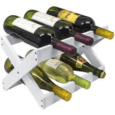 bamboo foldable wine rack white