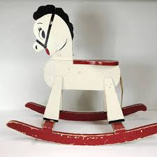 vintage wooden rocking horse painted white black red aged distre