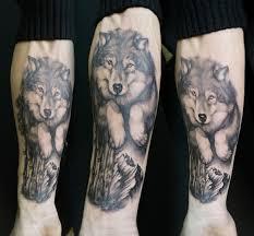 пушистый волчара волк лес гора татуировка предплечье Tattoo