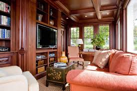 Featured Image of Modern Craftsman Living Room With Coral Couch And  Coffered Wooden Ceiling