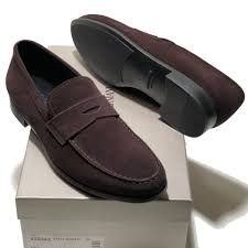 new giorgio armani men s brown penny suede leather fashion loafers shoes casual