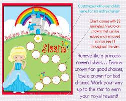 Princess Behavioral Chart Personalized Reward Chart Star Chart Laminated Assembled Potty Chart Chore Chart Kids Girls Behavior
