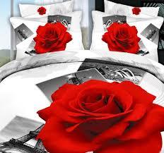 3d paris white red rose bedding set eiffel tower flower duvet cover fitted bed sheet bedspread super king size queen double bedsheet duvet sets