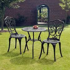 sus black cast aluminium bistro set gardens homes direct within iron prepare 3