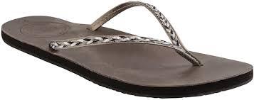 reef women s leather uptown braid flip flops gris metal shoes sports outdoor pool reef