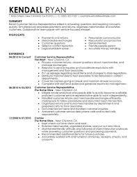 Retail Resume Summary Customer Service Representative Retail Resume