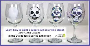 wine glass painting work the sugar skull presented by florida craftart artstampabay com