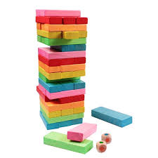 Game With Wooden Blocks Kids Jenga Game Wooden Blocks Natural Colourful Stacking Tower 42