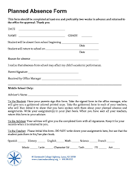 Absence Form Student Planned Absence Form 11 14 17 Crossroads Academy