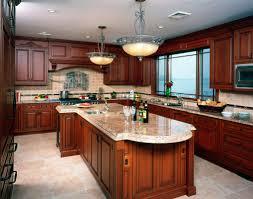 Kitchen. U shape kitchen design using red rustic cherry kitchen cabinets  including rectangular red cherry