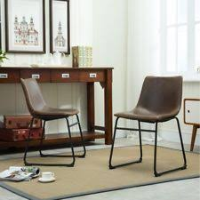 item 1 Roundhill Furniture Lotusville Vintage Faux Leather Dining Chair - Set of 2 -Roundhill PU Chairs